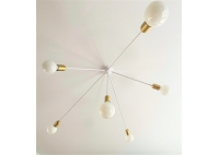 Lampa Drapak - Biały połysk - Mosiądz szcotkowany