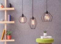 Lampa z klatką W1 - Czarna
