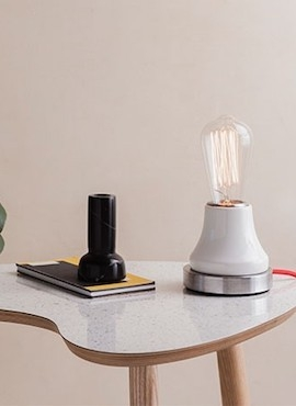 Lumica Lamp: White & Steel