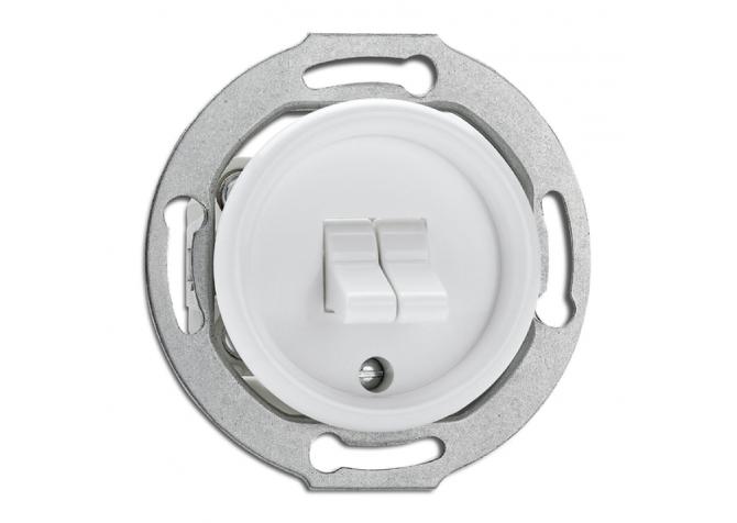 Włącznik dźwigniowy podwójny THPG PT biały