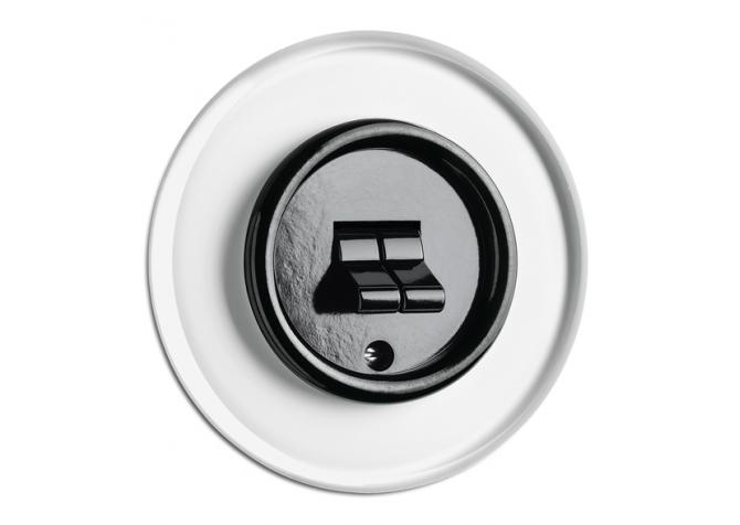 Włącznik dźwigniowy podwójny do ramki szklanej THPG PT czarny